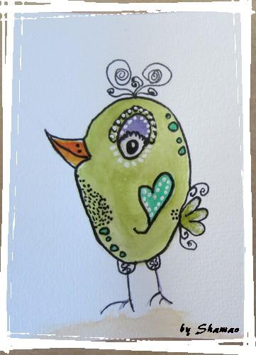 bird coeur vert